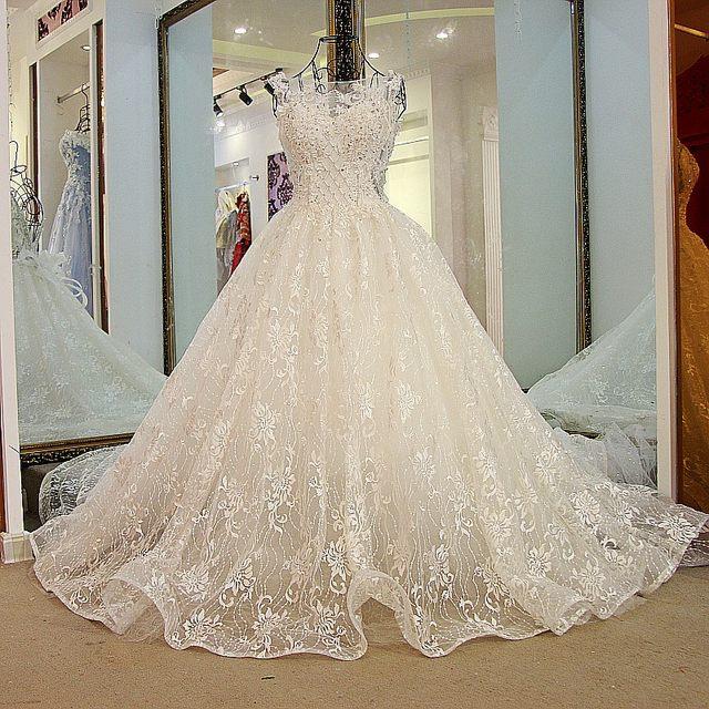 Online Shop LS24700 Crystal Bridal Dress with Long Train Corset ...
