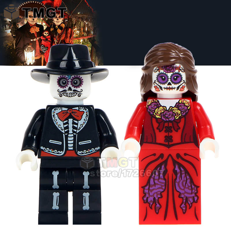 Tmgt 2 Pcs/lot Skeleton Movie Coco Day Of The Dead Holiday Building Blocks Education Learning Toys For Children Wm8001 Wm8002 Model Building