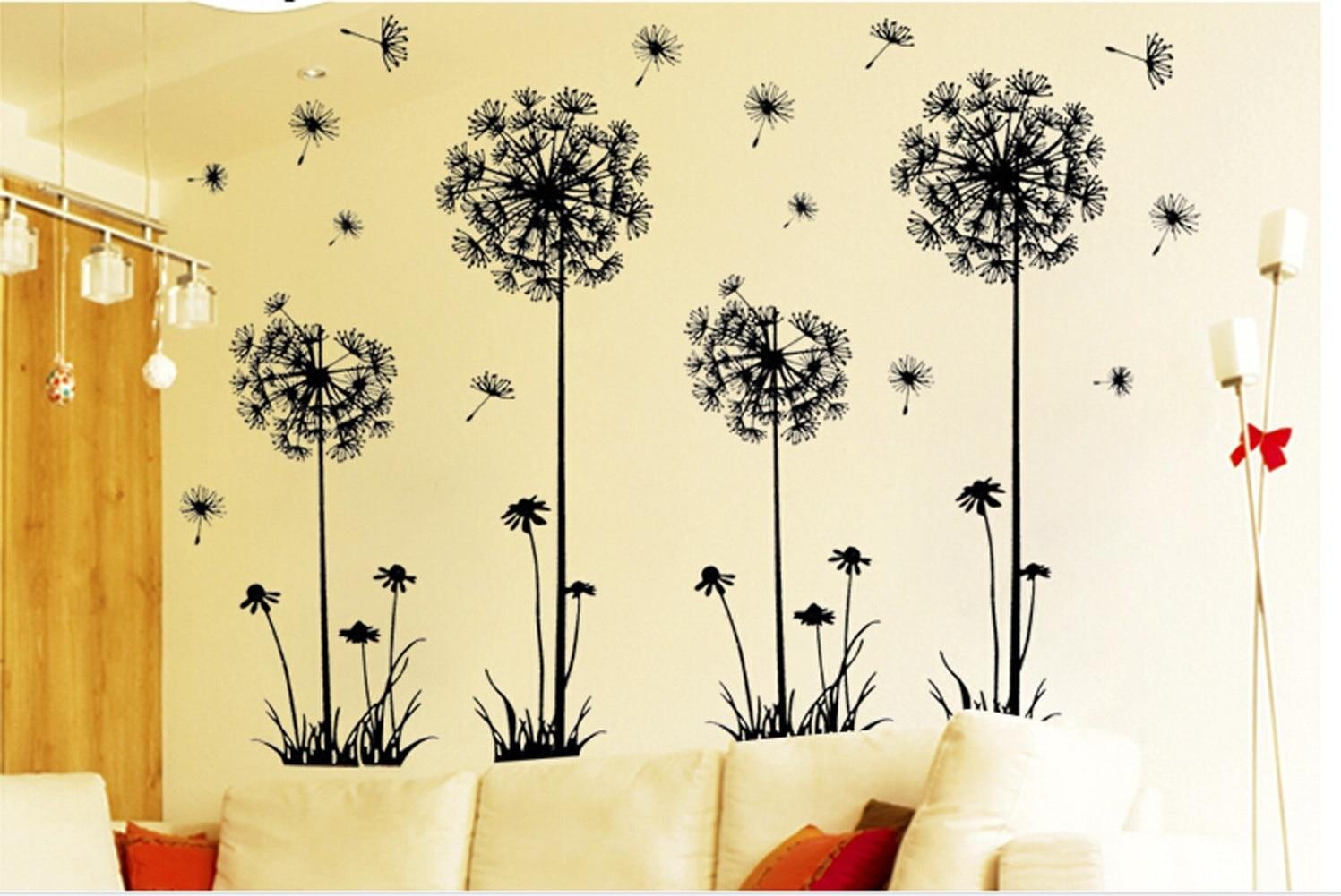 Fashion DIY Creative Dandelion Wall Art Decal Paper Removable Mural ...