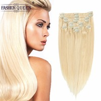 Fashion Queen Clip in Human Hair Extensions Blonde Color #613 Clip in Extensions 12pcs/set, weighs 95g with 20 clips, 2pcs free