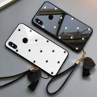 BONVAN-funda para Xiaomi Redmi 5 5A 5 plus, con corazón encantador, fundas de teléfono de cristal templado para Redmi Note 5 Pro, cubierta trasera con cordón de borla