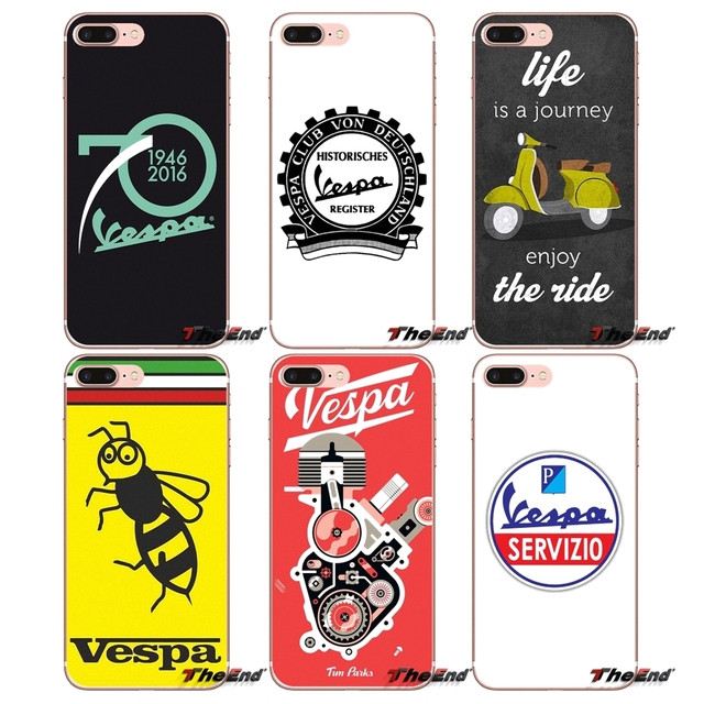 7c5821ea2 Soft Transparent Cases Covers Vespa Scooter For Apple iPhone X 4 4S 5 5S SE  5C 6 6S 7 8 Plus 6sPlus 6Plus 7plus 8plus