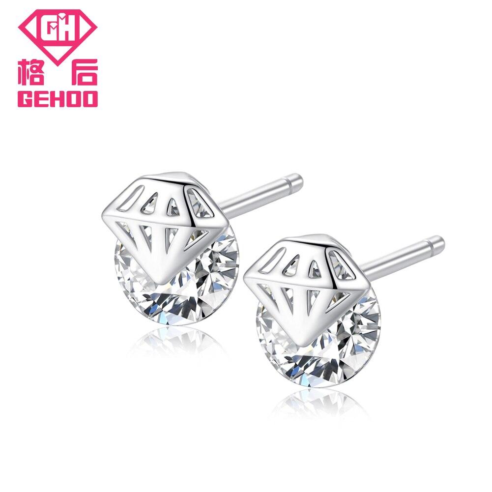 GEHOO 2018 Diamond Hollow Design 925 σκουλαρίκια από ασήμι ... 14c9d30a955
