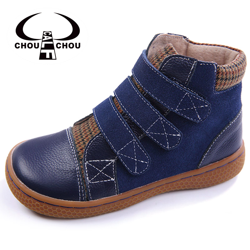 купить Ankle boots children shoes genuine leather enfants shoes cow leather and suede patches for shoes kids boy girl blue suede boots по цене 2150.08 рублей