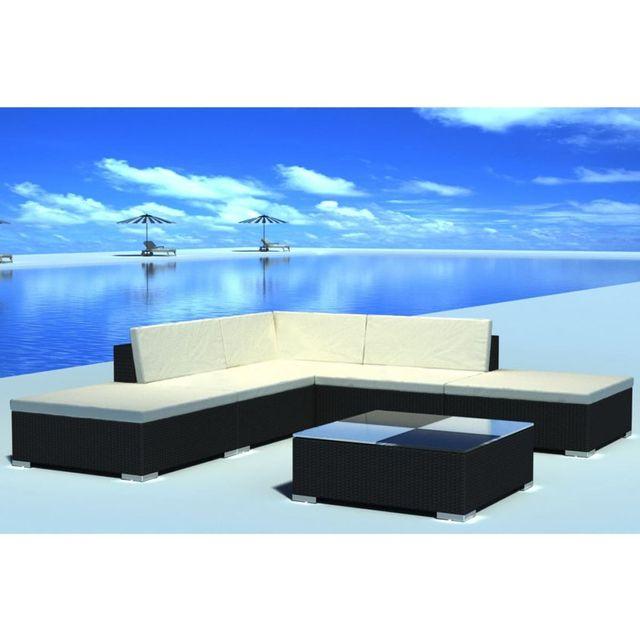 Vidaxl 15 Piece Garden Lounge Set Black Poly Rattan In Garden Sets