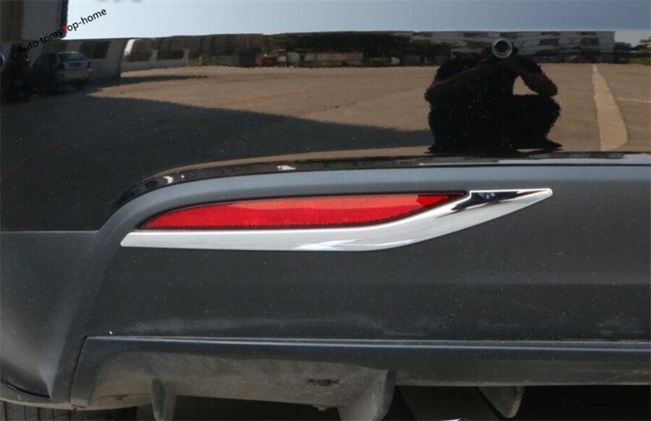 Yimaautotrims extérieur Chrome feux de brouillard arrière feux de brouillard feux de brouillard feux de couverture garniture 2 pièce adapté pour Tesla modèle X 2016 2017 2018