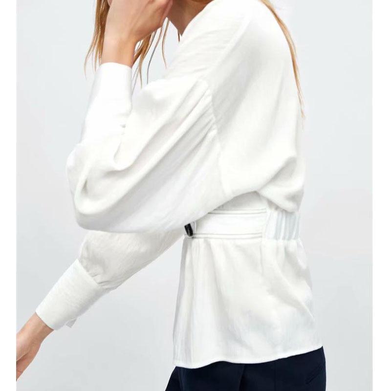 Top Longues cou 2018 Nouvelle Solide Taille Couleur Blouse Manches Femmes Women'shirt Tempérament Élastiquée V Joker Lâche Blanc Bouton Contraste FxBwZwE