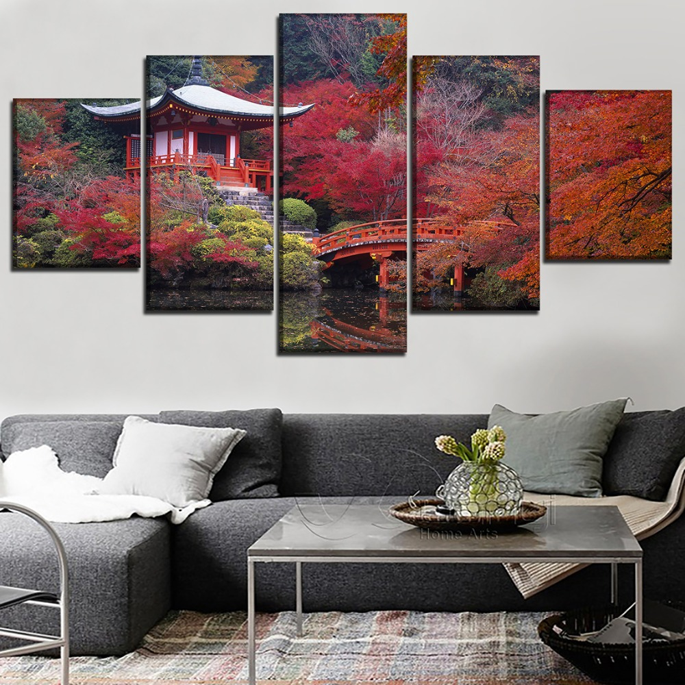 Wall Art Modular Picture Canvas 5 Pieces Fall Japan Garden Bridge Building Painting Decor Living Room Modern HD Print Poster