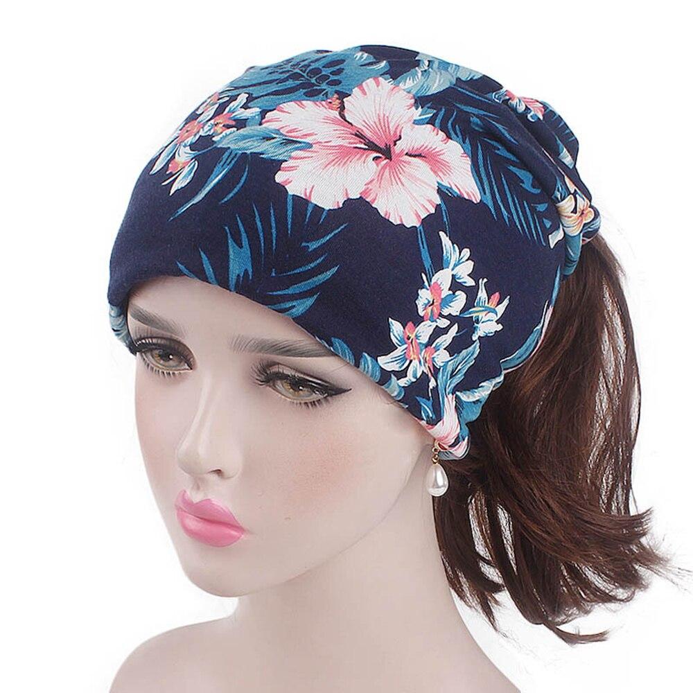 1 Pc Moslim Elastische Tulband Cap Vrouwen Mode Toevallige Zachte Chemo Hoed Hoofd Wrap Bloem Roes Bonnet Cap Vrouwen Hijaabs Hoofddoek