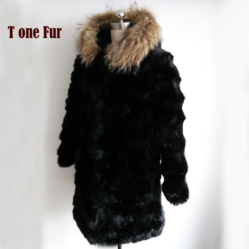 2019 Luxury New Brand Top Factory Outlet Real Rabbit Fur Long Coat With Natural Raccoon Fur