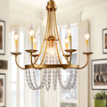 American Country Crystal Chandelier Nordic Retro Led Vintage Candle Lamp Dining Room Bedroom candle Tieyi lighting