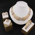 Popular boutique de moda conjunto de jóias de casamento banhado a Ouro-banhado colar brincos pulseira de cristal acessórios de vestuário 2016