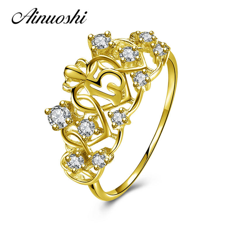 AINUOSHI Elegant Queen Crown Ring 10K Solid Yellow Gold Heart Ring Bridal Ring 15th Anniversary Fine Jewelry Women Wedding Ring ainuoshi exquisite queen crown ring 10k solid yellow gold flower ring women jewelry engagement wedding birthday party heart ring