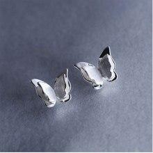 Anenjery милые модные 925 пробы серебряные трехмерные серьги-гвоздики с бабочкой для женщин девушек brincos S-E501