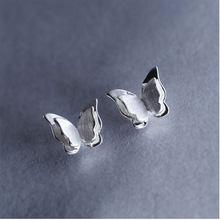 ANENJERY 925 Sterling Silber Nette Mode Drei-dimensional Schmetterling Stud Ohrringe Für Frauen Mädchen brincos S-E501