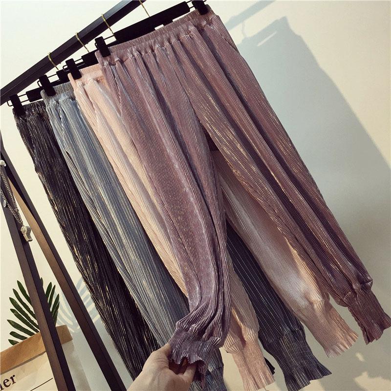 Female 2018 Xia Xin thin yuan funny girl loose waist waist pants Haren pants nine feet pants Street leisure pants clap