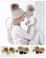 New 2PCS Mom and Baby Knitting Warm Hat Real Fur Family Matching Outfits Woman Winter Hat Newborn Kids Bonnet Gorros Bebe LYDZ01