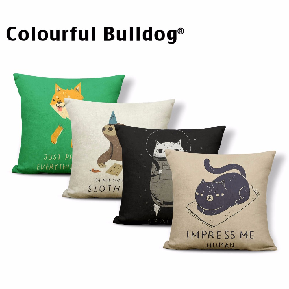 Cartoon Animal Pillows Space Cat Dog Bear Shiba Cushion Cover Gamer Chair Waist Support Throw Pillow Covers 45 Blend Interesting
