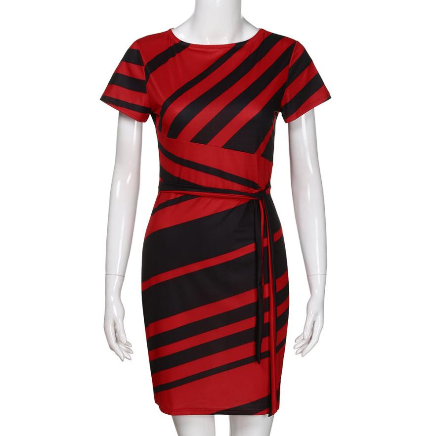 HTB1j9Q8tL1TBuNjy0Fjq6yjyXXaA KANCOOLD dress Summer fashion Women's Working Pencil Stripe Party Casual O-Neck Mini high quality dress women 2018MA27