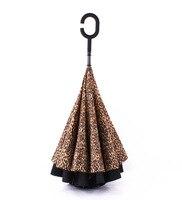 الجملة ليوبارد طباعة مظلة الإبداعية مقلوب طبقة مزدوجة مقبض طويل مشمس و ممطر مظلات لل سيارة dhl فيديكس الحرة