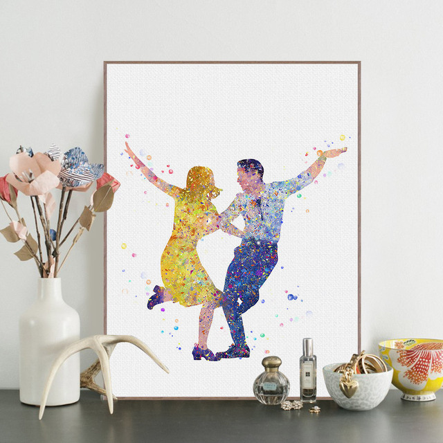 Watercolor La La Land Canvas Prints Poster Oscar Lover Movie Dance Wall Pictures Modern Home Decor Big Paintings No Frame
