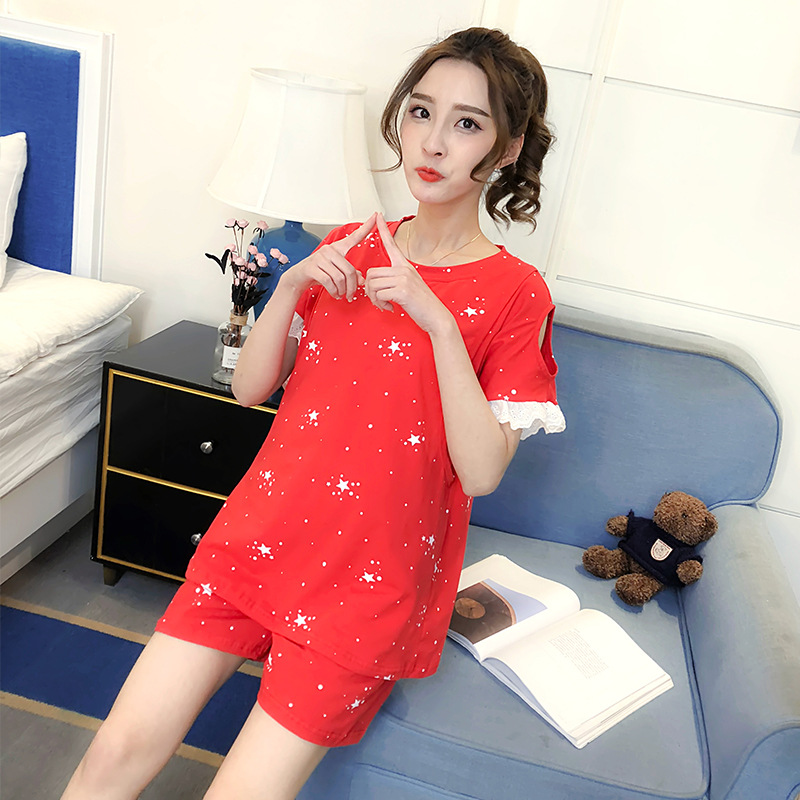 100 Cotton Maternity Nursing Clothes for pregnant women pajamas breast feeding clothes Lace Sleep home set feeding large yards in Sleep Lounge from Mother Kids