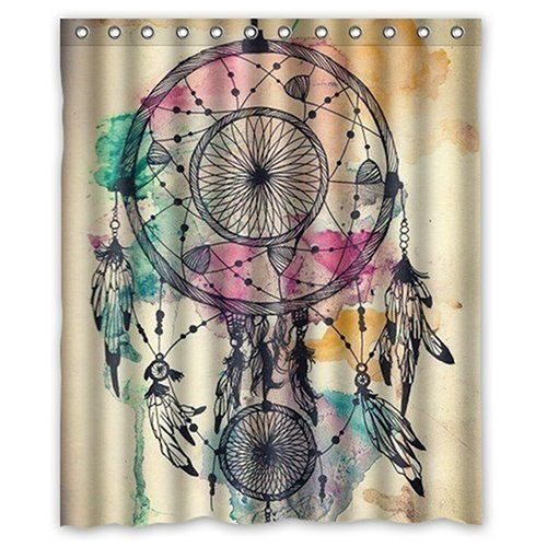 Retro Colorful Dream Catcher Feathers Pattern Bathroom Decor Shower Curtain