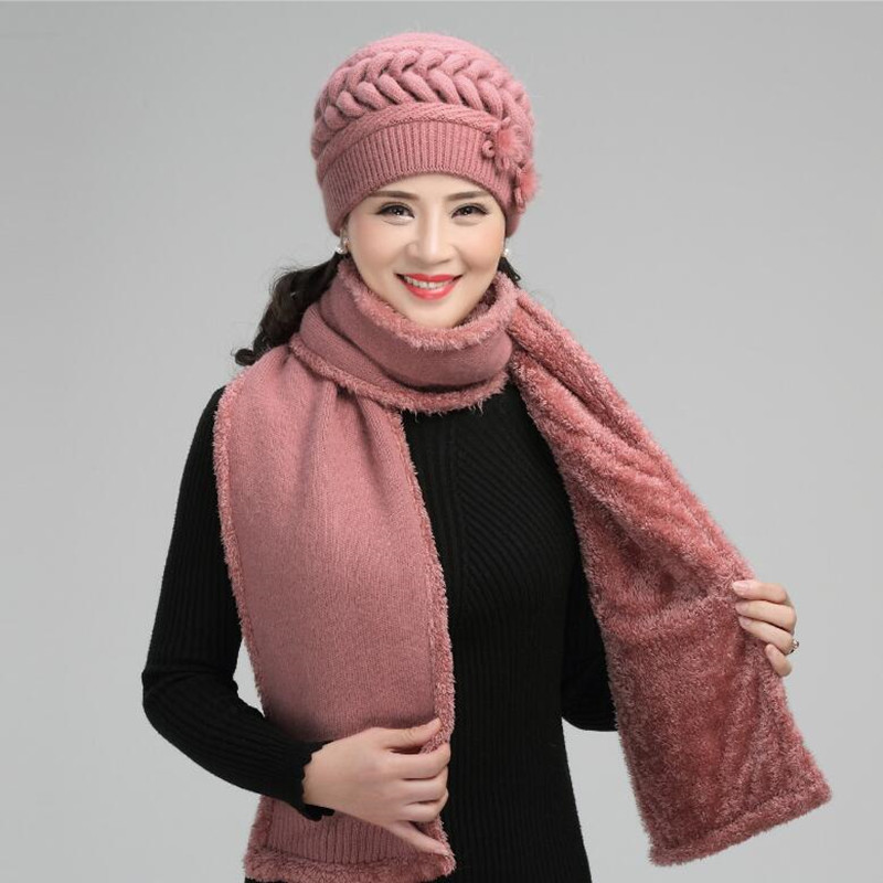 Winter Women Wool Knitted Cap Middle-aged Female Elegant Soft Scarf Mother Christmas Gift Warm Comfortable Fashion Hat H7164