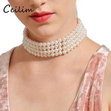 ФОТО korean statement costume jewelry wide imitation pearl choker 3 layered necklace elegant female collar for ladies party gift new