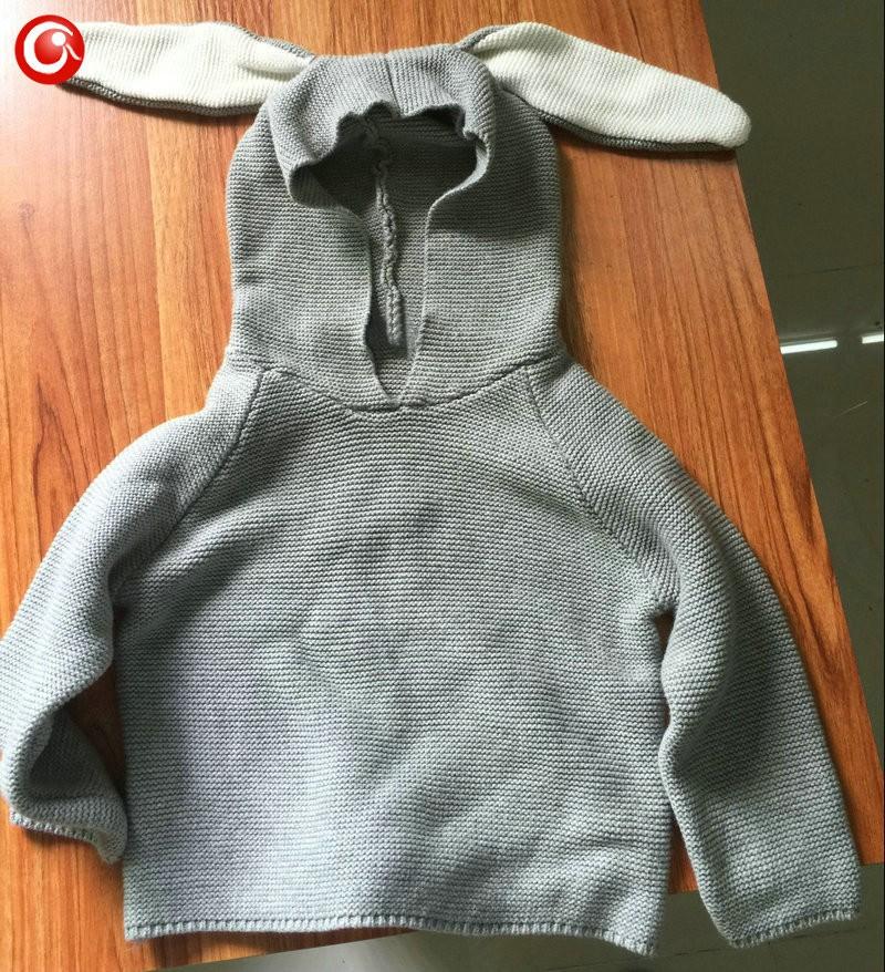 Autumn Crocheted Knitting 3D Rabbit Pattern Baby Girls Cardigan Children Toddler Boys Cotton Sweater Kids Warm Jumper 1-5Y (3)