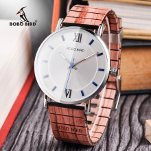 BOBO BIRD New Design Wood Band klokker Timepieces for menn og kvinner Casual Quartz Watch i Wooden Gift Box DROP SHIPPING