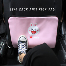 E-FOUR Car Seat Back Anti-Kick Pad with Cartoon Printing Micro-Fibre Leather Children Kick Mat Protect Anti-Dirty