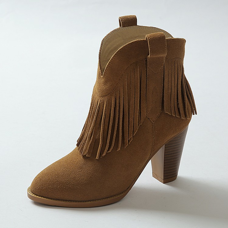 Women Autumn Winter Thick High Heel Genuine Leather Fringe Round Toe 2015 New Fashion Ankle Tassel Boots Size 34-39 SXQ0826