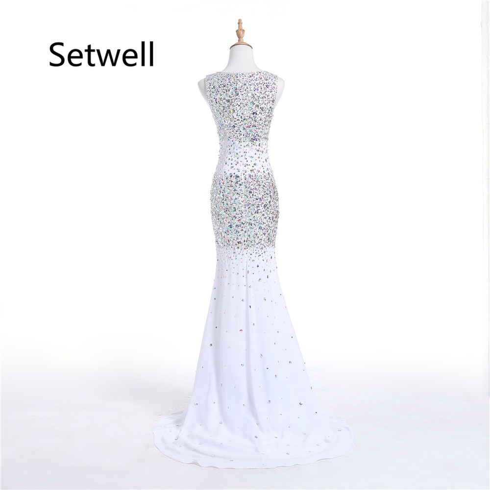 Setwell Elegant Side Split Evening Dresses High Quality White Sequin ...