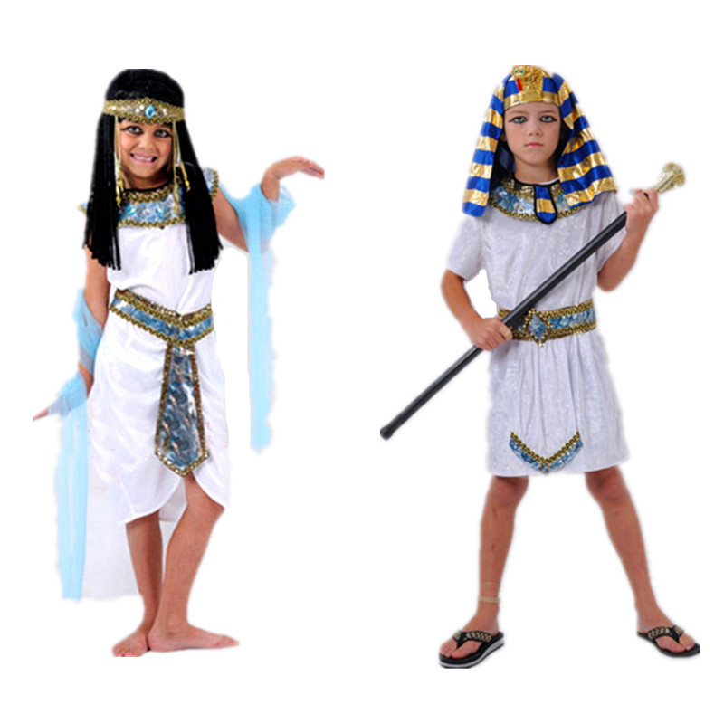 Children White Egyptian Pharaoh Cleopatra Adult Costumes Children's Day Cosplay Costume Egypt Princess Prince Family Party