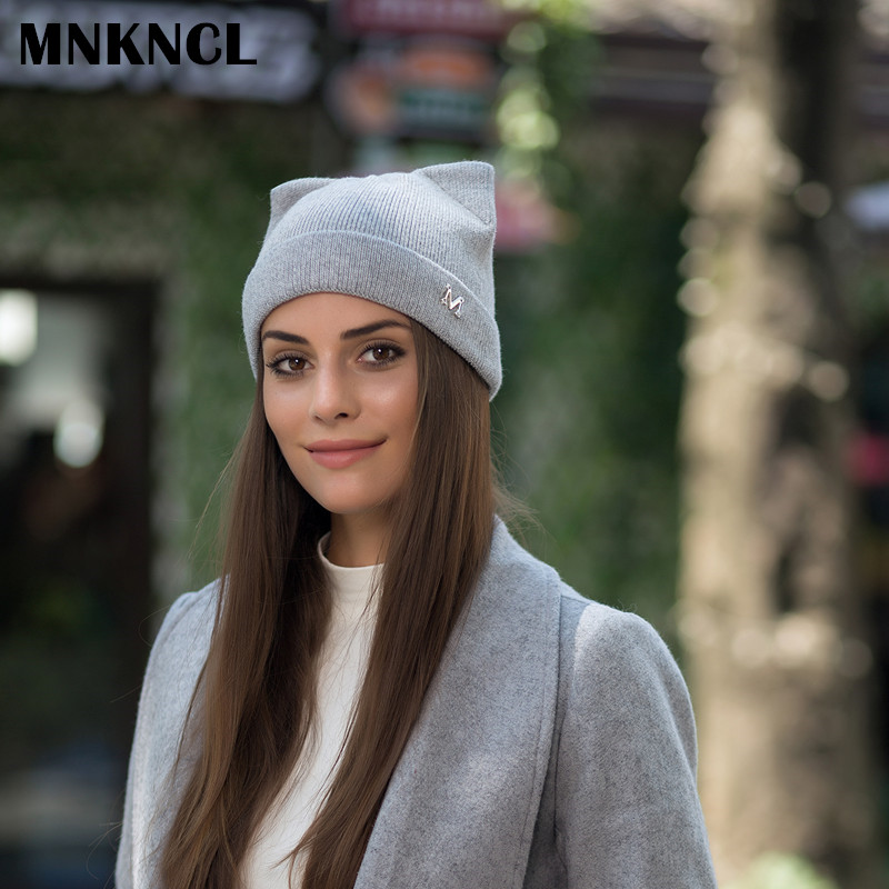 MNKNCL Warm Winter Hat For Women Knitted Cashmere Wool Beanies Hat Cat Ear Stylish Cap 2017 New Fashion Lovely Skullies Cap wuhaobo the new arrival of the cashmere knitting wool ladies hat winter warm fashion cap silver flower diamond women caps