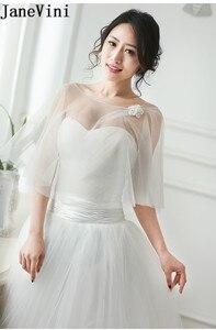 Image 2 - JaneVini High Quality Women Wedding Bolero Cloaks Handmade Flowers Evening Shawl Bridal Party Wrap Shrug Tulle Stoles Summer