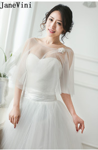 Image 2 - JaneVini capas de Bolero de boda para mujer, chal para veladas fiesta nupcial, envoltura de tul, Verano