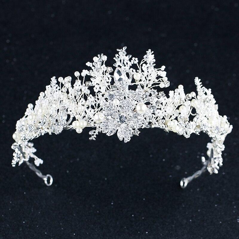 все цены на Baroque Silver Gold Wedding Hair Jewelry Pearl Headpiece Crystal Bridal Tiara And Crowns Queen Princess Wedding Hair Accessories онлайн