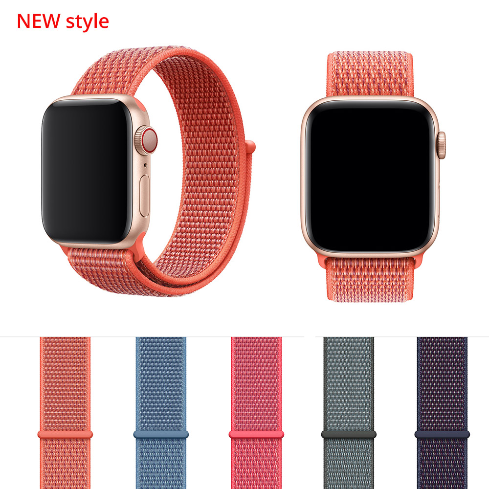 New Woven Nylon Sport Loop band for Apple Watch Series 4 44mm 40mm strap watchband for iWatch 42mm 38mm Series 4 3 2 bands mu sen woven nylon band strap for apple watch band 42mm 38 mm sport fabric nylon bracelet watchband for iwatch 3 2 1 black