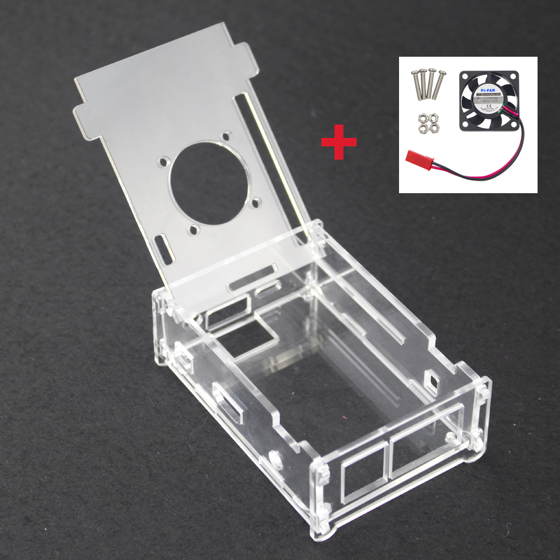 High Quality Transparent Acrylic Plastic Clear Box + Cooling Fan For Orange Pi PC / Orange Pi PC Plus