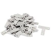 50mm Flat T Shape Stainless Steel Corner Braces Angle Brackets Silver Tone 50pcs