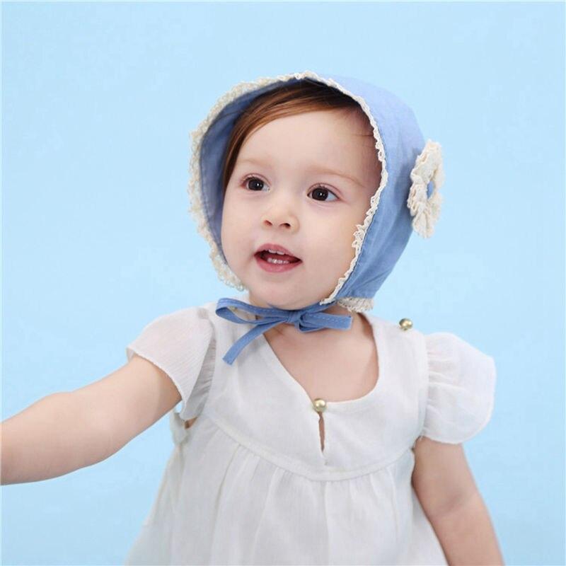 Bnaturalwell Baby bonnet Infant girls blue hat with flower Sunbonnet Baby  Spring Christening hat Handmade Toddler Sun Hat H056-in Hats   Caps from  Mother ... da473375703b