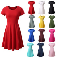 2018 Spring And Summer Hot Europe America Large Size Solid Color Round Neck Short Sleeve Comfortable Simple Loose Dress S-3x