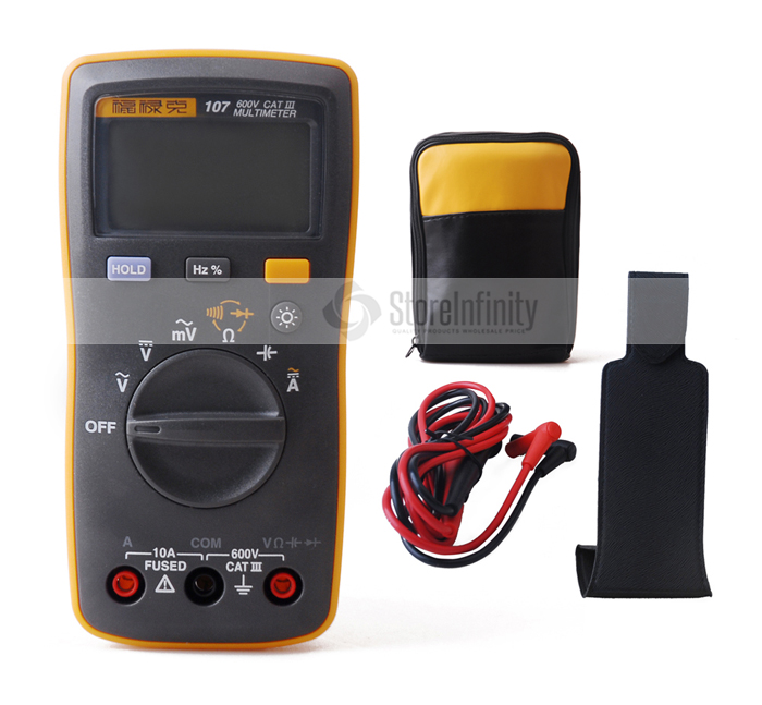 Fluke 107 Auto Range Digital Multimeter AC/DC Current Handheld Tester With Ohm, Capacitance, Hz Measurement With Soft Case