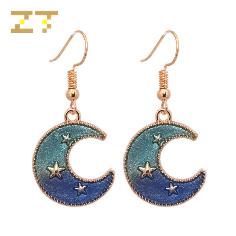 China New Hot Sale Blue Purple Moon Star Dangle Drop Earrings Fashion Statement Earrings Pendant for Women Brincos Oorbellen