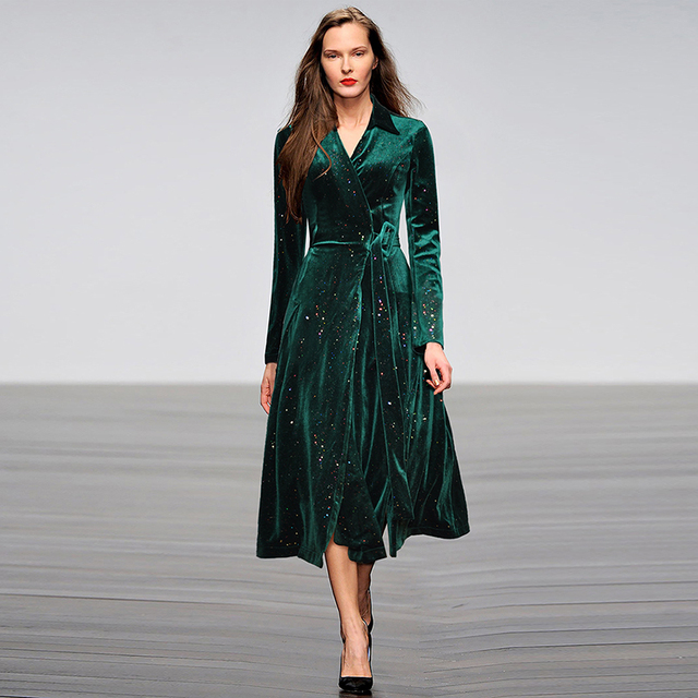 138b69cb6 HIGH QUALITY New Fashion 2019 Fall Winter Designer Runway Dress Women's Long  Sleeve Star Glitter Wrap Velvet Dress