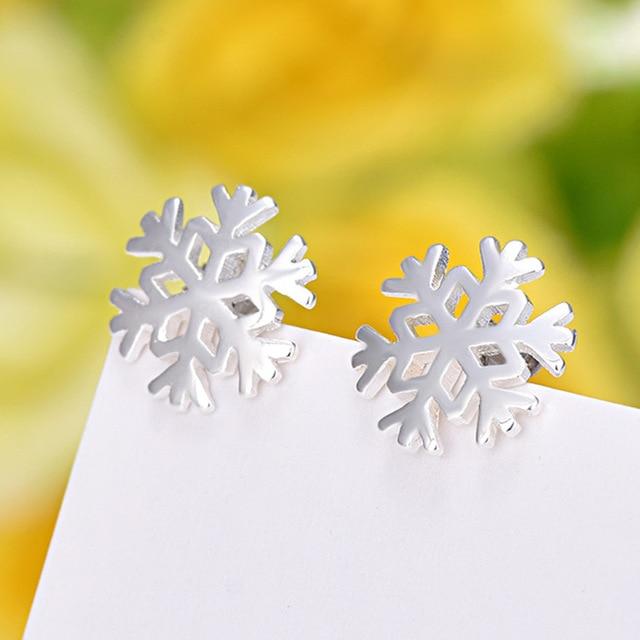 925 Sterling Silver bijoux Piercing Snowflake Stud Earrings For Women Gift Prevent Allergy pendientes boucles d'oreilles A059