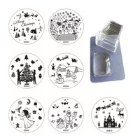 Christmas XMAS Theme Nail Art Stamp Template 10 Image Plates 1 Jelly Stamper Scraper Set Polish