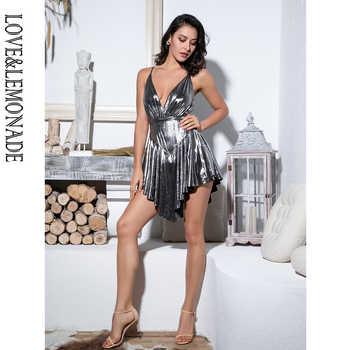 LOVE&LEMONADE Sexy Silver Deep V-Neck Open Back High Waist Playsuit LM81380-1